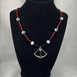 Movable bow & arrow pendant w/ glass & crystal
